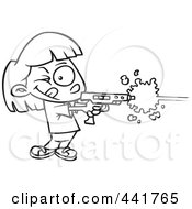 Royalty Free RF Clip Art Illustration Of A Cartoon Black And White Outline Design Of A Girl Playing Laser Tag