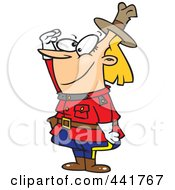 Royalty Free RF Clip Art Illustration Of A Cartoon Female Royal Canadian Mounted Police Officer