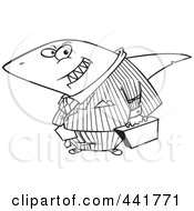 Royalty Free RF Clip Art Illustration Of A Cartoon Black And White Outline Design Of A Business Land Shark by toonaday