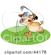 Clipart Illustration Of A Brown Dog Focusing While Golfing On A Course