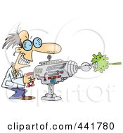 Royalty Free RF Clip Art Illustration Of A Cartoon Scientist Using A Laser Gun