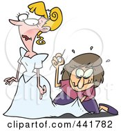 Royalty Free RF Clip Art Illustration Of A Cartoon Seamstress Tailoring A Brides Dress At The Last Minute