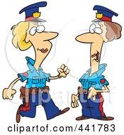 Cartoon Two Female Cops