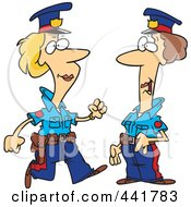 Royalty Free RF Clip Art Illustration Of Cartoon Two Female Cops