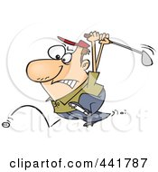 Royalty Free RF Clip Art Illustration Of A Cartoon Golfer Swinging At His Last Ball