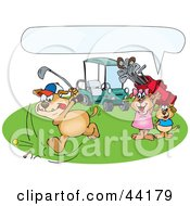 Clipart Illustration Of A Boy And Girl Dog Watching Their Father Golf With A Text Box by Dennis Holmes Designs