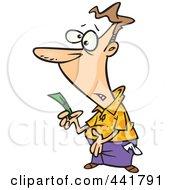 Royalty Free RF Clip Art Illustration Of A Cartoon Broke Man Holding His Last Dollar