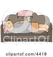 Male Couch Potato Laying On His Couch Watching TV And Drinking Beer Clipart