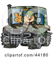 Clipart Illustration Of A Sparky Dog Character Soldier Driving A Hummer