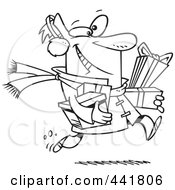 Royalty Free RF Clip Art Illustration Of A Cartoon Black And White Outline Design Of A Last Minute Christmas Shopper Carrying Gifts