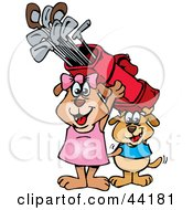 Clipart Illustration Of A Boy And Girl Dog Carrying Golf Clubs