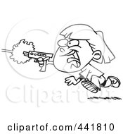Royalty Free RF Clip Art Illustration Of A Cartoon Black And White Outline Design Of A Girl Shooting A Gun And Playing Laser Tag