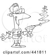 Royalty Free RF Clip Art Illustration Of A Cartoon Black And White Outline Design Of A Space Man Using A Laser Gun
