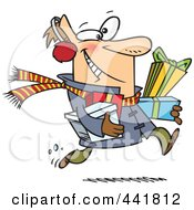 Royalty Free RF Clip Art Illustration Of A Cartoon Last Minute Christmas Shopper Carrying Gifts