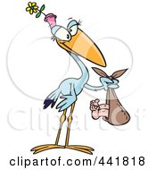 Royalty Free RF Clip Art Illustration Of A Cartoon Female Stock Carrying A Baby by toonaday