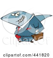 Royalty Free RF Clip Art Illustration Of A Cartoon Business Land Shark by toonaday