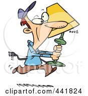Royalty Free RF Clip Art Illustration Of A Cartoon Man Running With A Lamp by toonaday