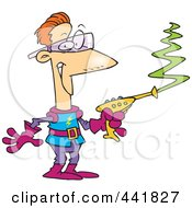 Royalty Free RF Clip Art Illustration Of A Cartoon Space Man Using A Laser Gun