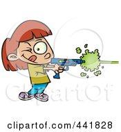 Royalty Free RF Clip Art Illustration Of A Cartoon Girl Playing Laser Tag