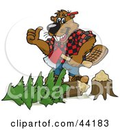 Clipart Illustration Of A Lumberjack Beaver Holding An Axe Over A Tree by Dennis Holmes Designs