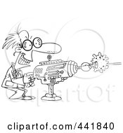 Royalty Free RF Clip Art Illustration Of A Cartoon Black And White Outline Design Of A Scientist Using A Laser Gun