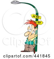 Royalty Free RF Clip Art Illustration Of A Cartoon Man Leaning Against A Lamp Post by Ron Leishman