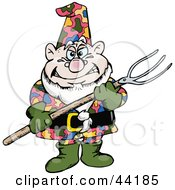 Clipart Illustration Of A Chubby Garden Gnome Holding A Pitch Fork