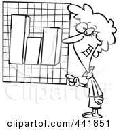 Royalty Free RF Clip Art Illustration Of A Cartoon Black And White Outline Design Of A Businesswoman Presenting A Bar Graph
