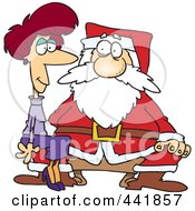 Royalty Free RF Clip Art Illustration Of A Cartoon Adult Woman Sitting On Santas Lap