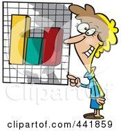 Royalty Free RF Clip Art Illustration Of A Cartoon Businesswoman Presenting A Bar Graph