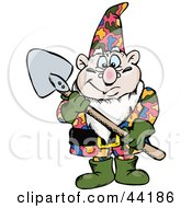 Clipart Illustration Of A Chubby Garden Gnome Holding A Shovel