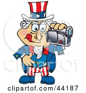 Clipart Illustration Of An American Uncle Sam Making A Home Video