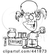 Royalty Free RF Clip Art Illustration Of A Cartoon Black And White Outline Design Of A Little Girl Selling Lemonade by toonaday