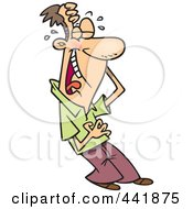 Royalty Free RF Clip Art Illustration Of A Cartoon Man Laughing And Holding His Belly