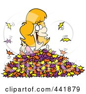 Royalty Free RF Clip Art Illustration Of A Cartoon Woman Playing In Leaves by toonaday