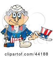 Clipart Illustration Of An American Uncle Sam With A Foot In A Cast Using A Crutch