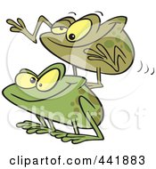 Royalty Free RF Clip Art Illustration Of Cartoon Frogs Playing Leap Frog