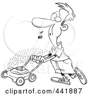 Royalty Free RF Clip Art Illustration Of A Cartoon Black And White Outline Design Of A Man Whistling And Mowing His Lawn by toonaday