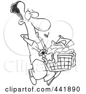 Royalty Free RF Clip Art Illustration Of A Cartoon Black And White Outline Design Of A Black Man Carrying A Laundry Basket