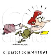 Royalty Free RF Clip Art Illustration Of A Cartoon Late Businesswoman Trying To Get To Her Flight by toonaday