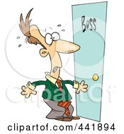 Royalty Free RF Clip Art Illustration Of A Cartoon Leary Businessman By A Door