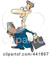 Royalty Free RF Clip Art Illustration Of A Cartoon Lawyer Carrying Files