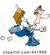 Royalty Free RF Clip Art Illustration Of A Cartoon Late Businessman Roller Blading To Work by toonaday
