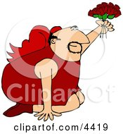 Valentines Day Cupid Man On His Knees Offer A Dozen Red Roses To His Lover Clipart