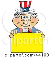 American Uncle Sam Holding A Blank Yellow Sign