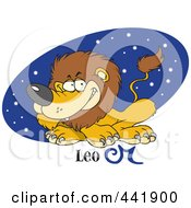 Royalty Free RF Clip Art Illustration Of A Cartoon Astrology Leo Lion Over A Blue Starry Oval by toonaday
