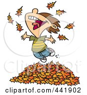 Cartoon Little Boy Playing In Leaves
