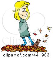 Royalty Free RF Clip Art Illustration Of A Cartoon Woman Walking In Leaves by toonaday