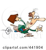 Royalty Free RF Clip Art Illustration Of A Cartoon Businessman Running After A Lead