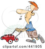 Royalty Free RF Clip Art Illustration Of A Cartoon Man Whistling And Mowing His Lawn